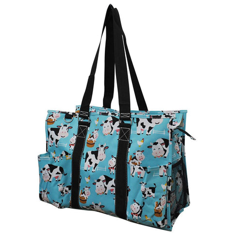 Cow in Town NGIL Zippered Caddy Large Organizer Tote Bag