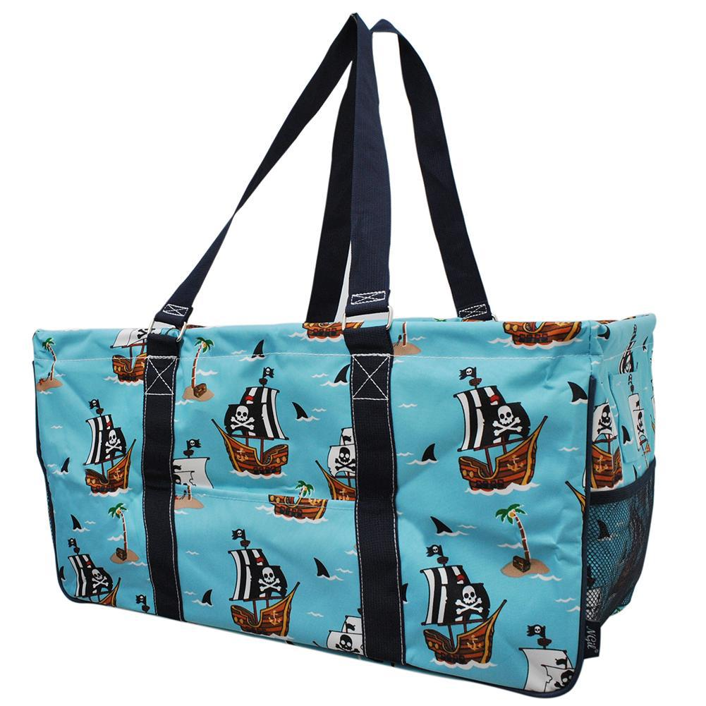 NGIL, Monogram gifts for her, monogram tote for teachers, personalized tote, teacher gifts, large pirate tote bags, pirate tote bag, pirate battle ship tote bag,