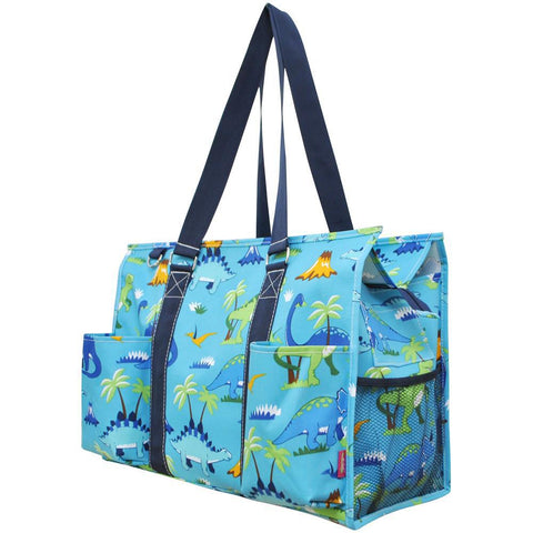 Zippered Caddy, monogramable bags, personalized tote for trips, personalized tote bag , dinosaur tote bag with zipper, camp tote bag, camping bag, babyshower bags and accessories, dino gift bags.