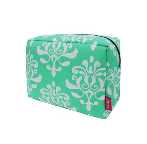 SALE ! Shabby Damask Mint NGIL Large Cosmetic Travel Pouch