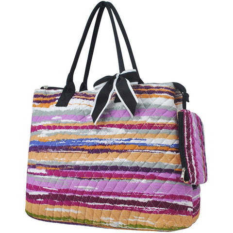 Stripes NGIL Quilted Overnight Tote Bag
