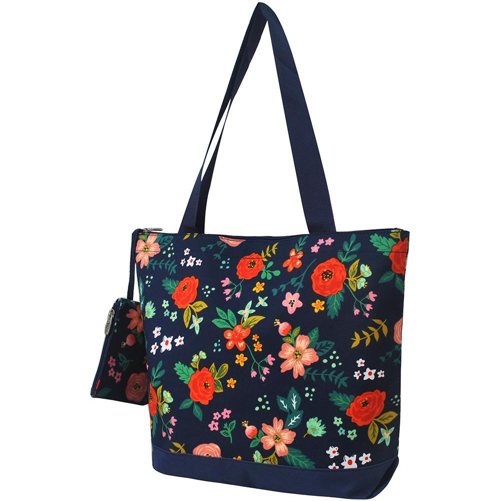 Overnight bag, monogram gifts for her, navy tote bag, personalized accessories bag, personalized tote for women, personalized gifts for her, NGIL Brand, ngil tote, tote bag supplier, cute navy flower tote, cute floral tote, wholesale tote bags bulk.