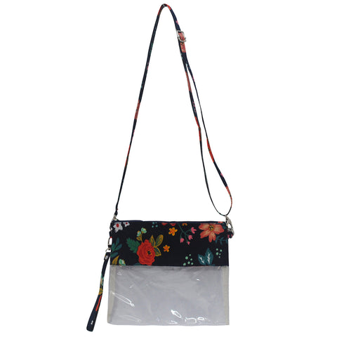 cute navy and blue flowers crossbody bag, small purse for everyday errands, clear crossbody purses for concerts, in bulk and cheap floral crossbody clear bag, women's clear purses for prom, small and convenient crossbody purses for special events