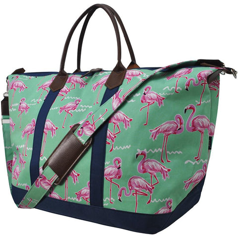 Personalized weekender tote bags, personalized leather weekender bag, monogrammed weekender travel bag, monogrammed weekender tote bag, cute weekender duffle bags, cute weekender tote bags, customized women's weekender, flamingo print travel bag, flamingo print weekend bag,