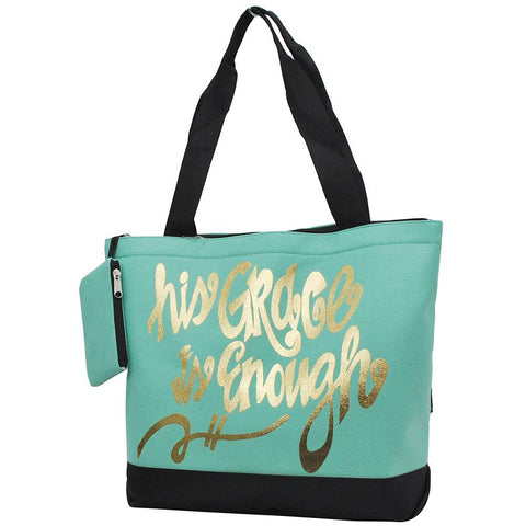 Overnight bag, his grace is enough tote bag, mint tote bag, grace tote bag, mint tote bag, monogram gifts for her, personalized accessories bag, personalized tote for women, personalized gifts for her, NGIL Brand, ngil tote, tote bag supplier, wholesale tote bags bulk.