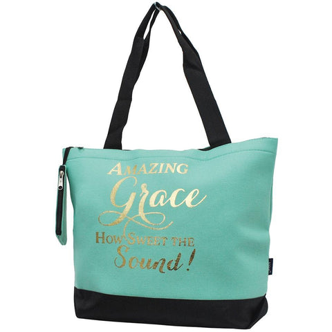 Monogrammed Zippered Tote Bag, monogram gifts for her, Monogram bags and tote, personalized gifts for moms, church accessories wholesale, Gifts for her, monogram gifts, NGIL Brand, religious personalized gifts, mint tote bag, mint tote bag for church, religious personalized tote bags.