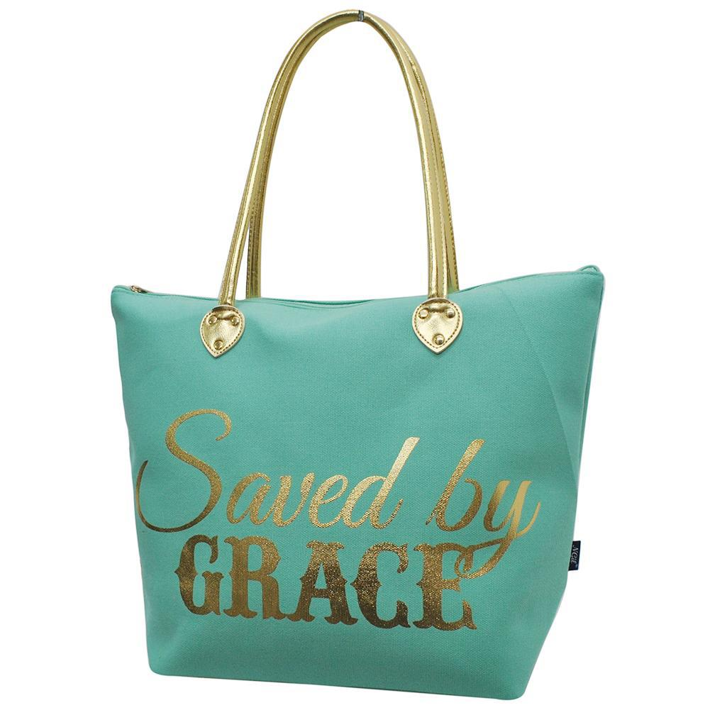 Monogrammed Zippered Tote Bag, cute mint tote bag, saved by grace tote, mint saved by grace bag, monogram gifts for her, Monogram bags and tote, Gifts for her, monogram gifts, NGIL Brand, custom tote bags with zipper, wholesale tote bags with zipper, nice tote bags for school,