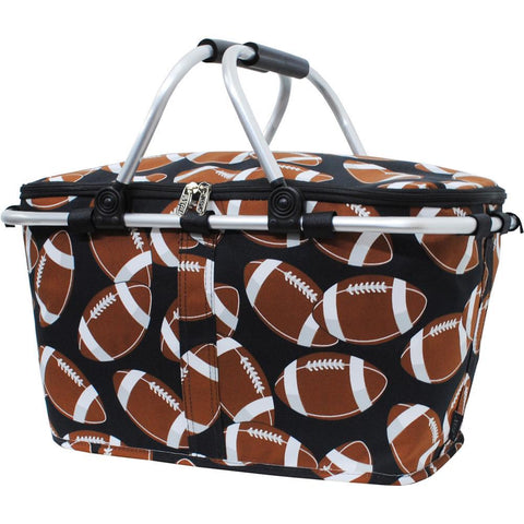 Insulated picnic basket for 2, market basket with lid, insulated basket for 2, picnic basket cooler, picnic basket with liner, picnic basket for kids, baskets for 6, picnic themed gifts, football team accessories, monogram gifts for her, monogram gift for teenage girl.