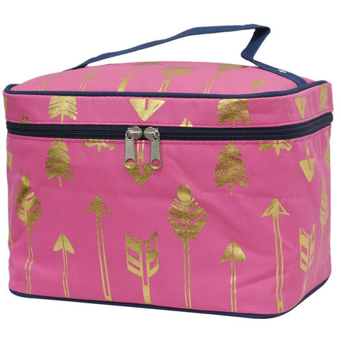 SALE ! Gold Coral Arrow NGIL Large Top Handle Cosmetic Case