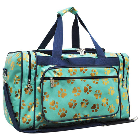 "Gold Puppy Paw Mint NGIL Canvas 23"" Duffle Bag"