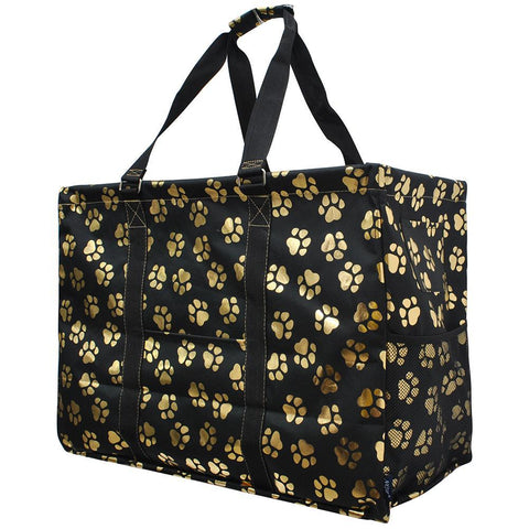Gold Puppy Paw NGIL Mega Shopping Utility Tote Bag
