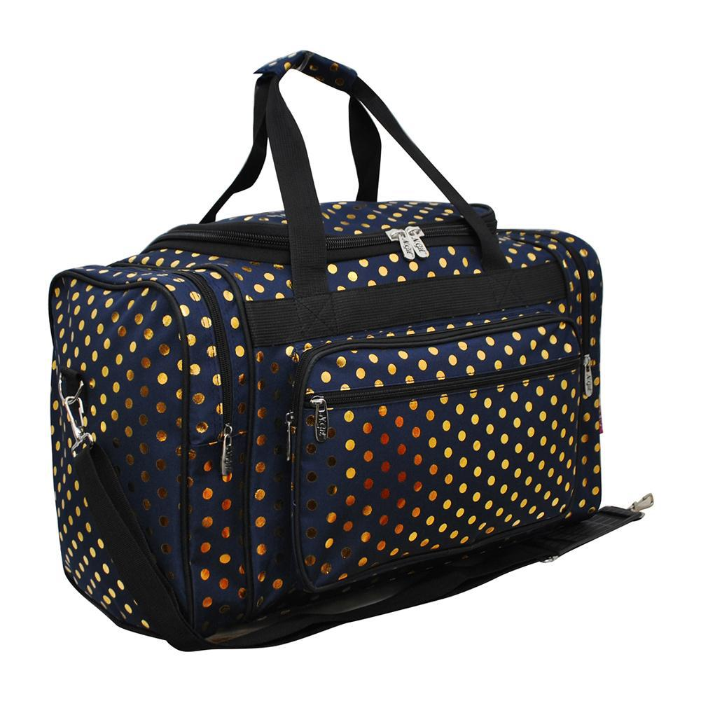 "Gold Polka Dot Navy NGIL Canvas 20"" Duffle Bag"