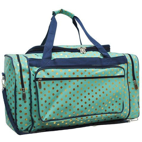 "Gold Polka Dot Mint NGIL Canvas 23"" Duffle Bag"
