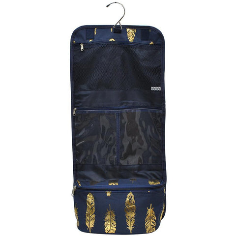 Gold Navy Feather NGIL Traveling Toiletry Bag