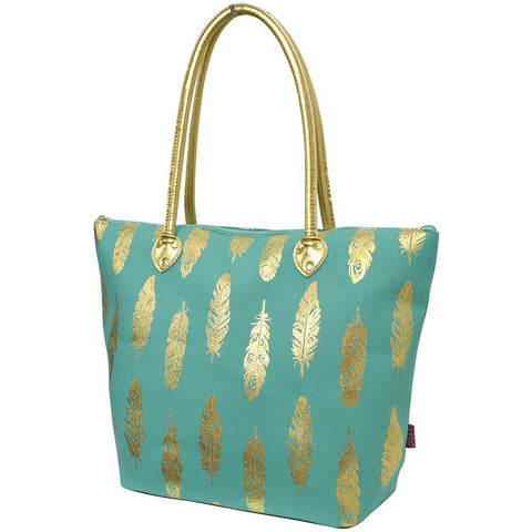Gold Mint Feather NGIL Gold Collection Tote Bag