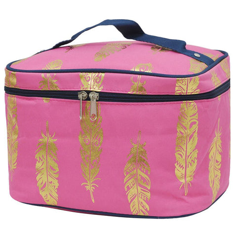 SALE ! Gold Coral Feather NGIL Large Top Handle Cosmetic Case