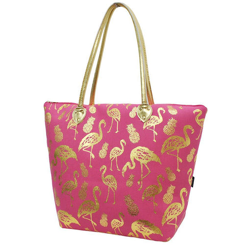 Gold Flamingo Coral NGIL Gold Collection Tote Bag