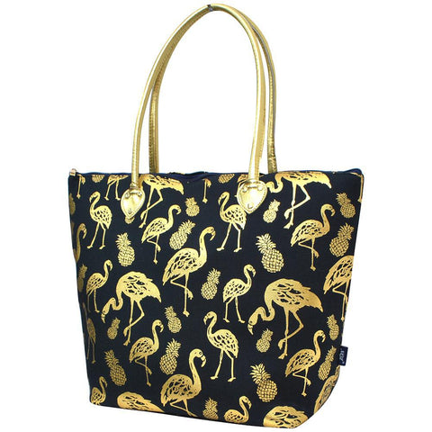 Monogrammed Zippered Tote Bag, gold flamingo tote bag, navy tote bag, navy beach tote, navy flamingo tote, monogram gifts for her, Monogram bags and tote, Gifts for her, monogram gifts, NGIL Brand, custom tote bags with zipper, wholesale tote bags with zipper, nice tote bags for school,