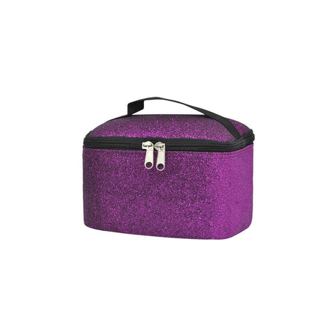 Cosmetic case for women, purple glitter makeup case, women's cosmetic case travel, cosmetic organizer box, personalized makeup train case, dance competition gift, cheer gifts for team.