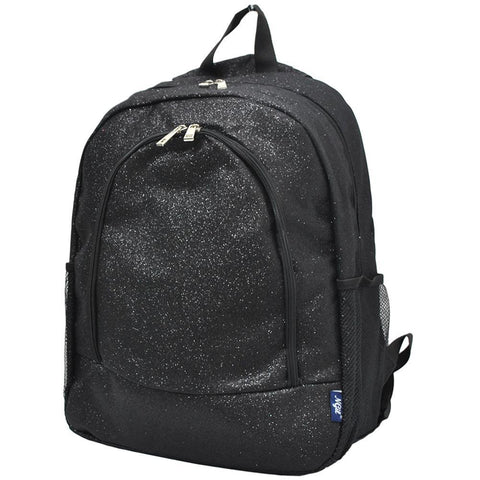 Black Glitter NGIL Canvas School Backpack