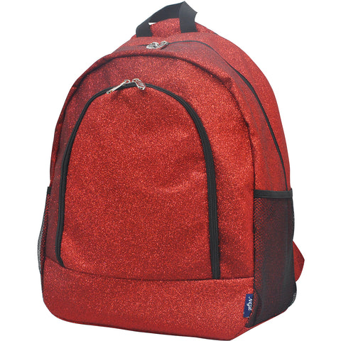 Red Glitter NGIL Canvas School Backpack