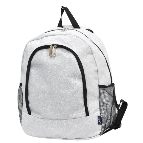 Silver Glitter NGIL Canvas School Backpack