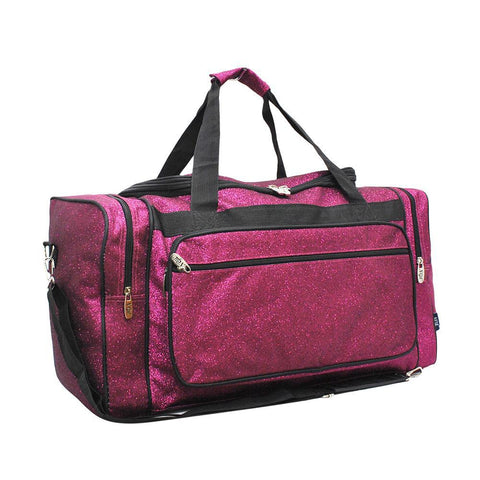"Hot Pink Glitter NGIL Canvas 20"" Duffle Bag"