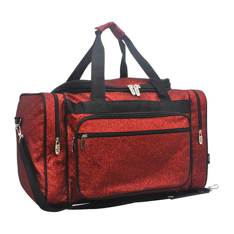 "Red Glitter NGIL Canvas Carry on 20"" Duffle Bag"