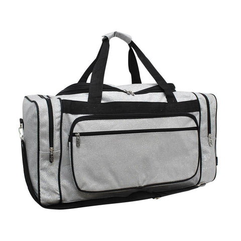 "Silver Glitter NGIL Canvas 20"" Duffle Bag"