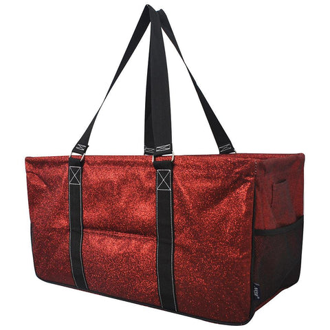glitter tote for women, monogram tote bag with zipper, personalized tote bags bulk, glitter utility bags, red glitter utility bags, Monogram gift ideas for her, monogram tote bags, personalized tote bags in bulk, NGIL, teacher appreciation gift, red glitter storage bags, glitter red tote bag