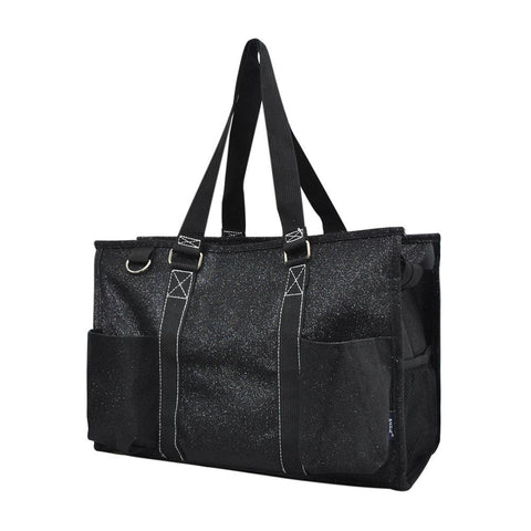 Black Glitter NGIL Zippered Caddy Organizer Tote Bag