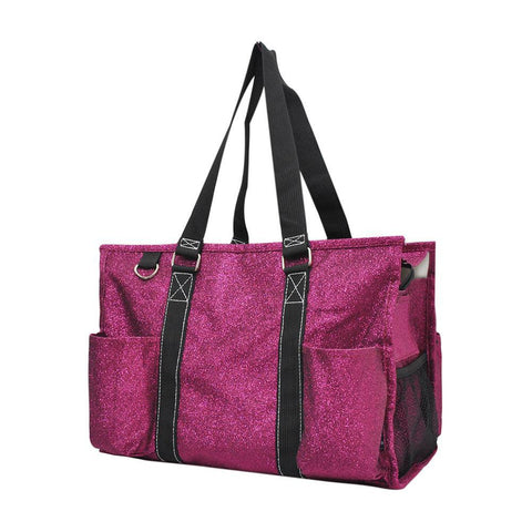Hot Pink Glitter NGIL Zippered Caddy Organizer Tote Bag