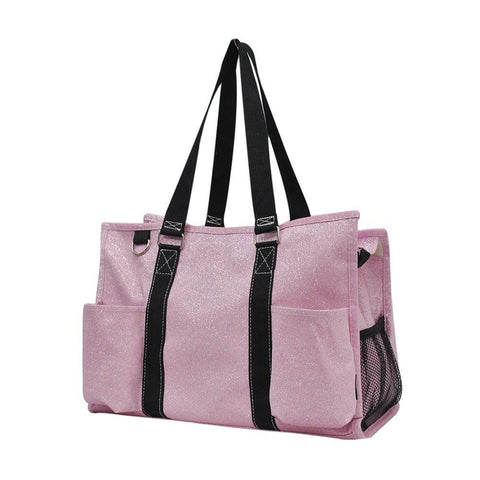 Pink Glitter NGIL Zippered Caddy Organizer Tote Bag