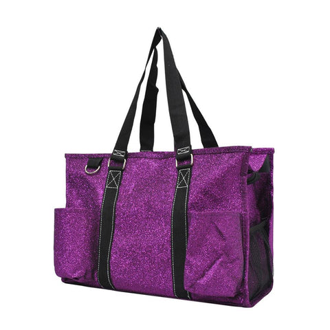 Purple Glitter NGIL Zippered Caddy Organizer Tote Bag