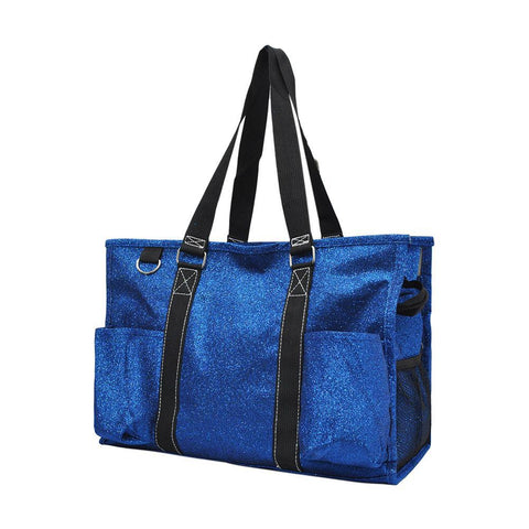 Royal Blue Glitter NGIL Zippered Caddy Organizer Tote Bag