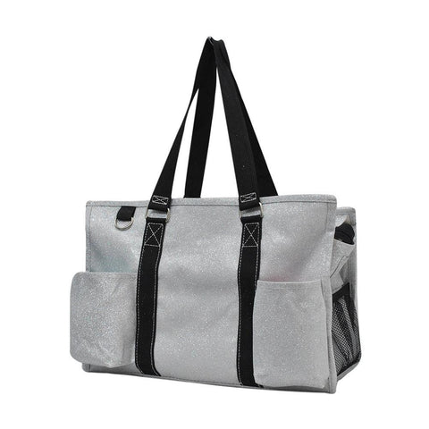 Silver Glitter NGIL Zippered Caddy Organizer Tote Bag
