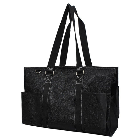 Black Glitter NGIL Zippered Caddy Large Organizer Tote Bag