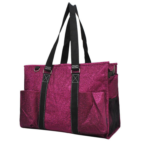 Hot Pink Glitter NGIL Zippered Caddy Large Organizer Tote Bag