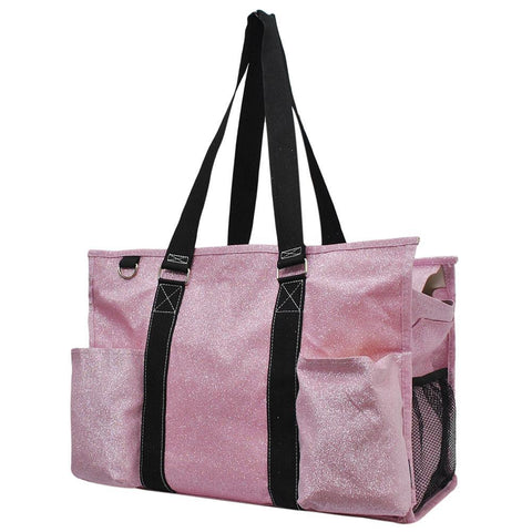Pink Glitter NGIL Zippered Caddy Large Organizer Tote Bag
