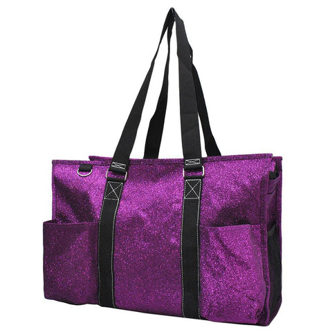 Purple Glitter NGIL Zippered Caddy Large Organizer Tote Bag