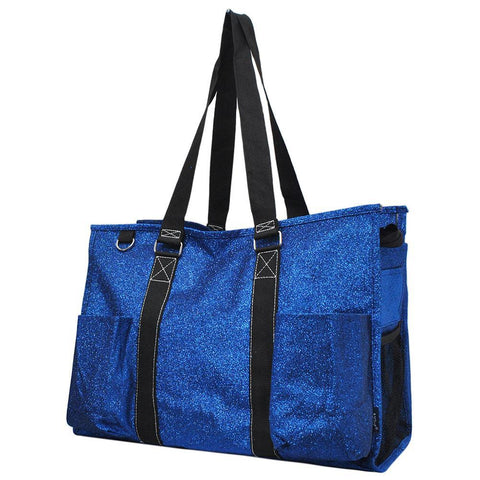 Royal Blue Glitter NGIL Zippered Caddy Large Organizer Tote Bag