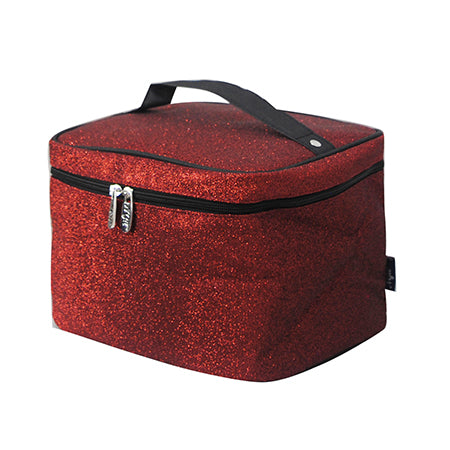 Red Glitter NGIL Large Top Handle Cosmetic Case