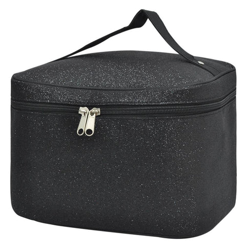 Black Glitter NGIL Large Top Handle Cosmetic Case