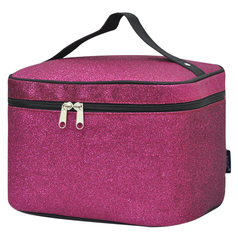 Cosmetic case for women, women's cosmetic case travel, cosmetic organizer box, personalized makeup train case, dance competition gift, cheer gifts for team, hot pink glitter cosmetic bag, hot pink glitter cosmetic case