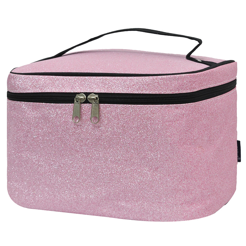 Cosmetic case for travel, cosmetic case gift set, cosmetic organizer case, personalized professional makeup case, dance recital gift, pink glitter makeup box,