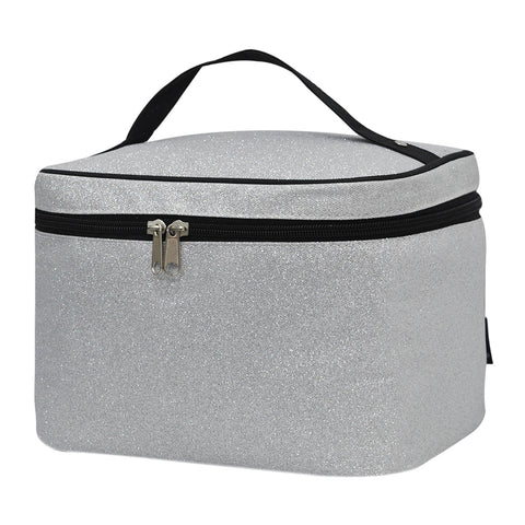 Silver Glitter NGIL Large Top Handle Cosmetic Case