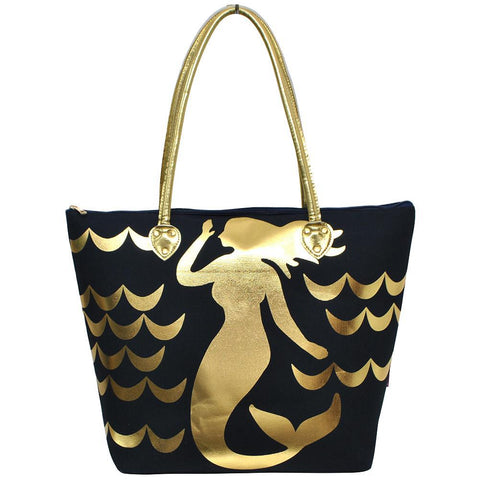 SALE ! Gold Mermaid Navy NGIL Gold Collection Tote Bag