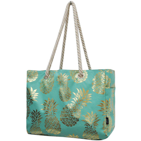 Gold Mint Pineapple NGIL Large Beach Tote Bag With Rope Handles