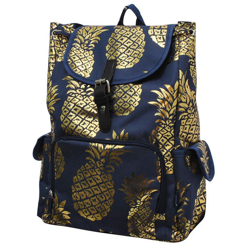 Gold Navy Pineapple NGIL Large Canvas Drawstring Backpack