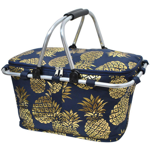 Gold Navy Southern Pineapple NGIL Insulated Market Basket